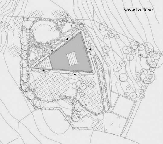 Plano arquitectónico de planta a nivel del techo