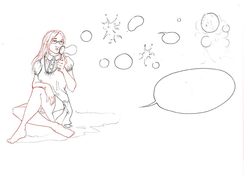 Encrage du dessin de bannière les bulles d'Astate