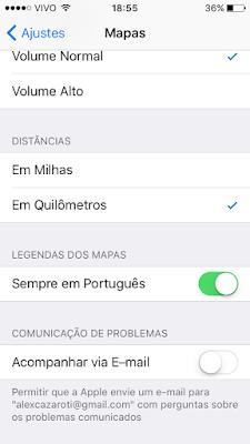 Comunicação de problemas nos Mapas da Apple - iOS 9