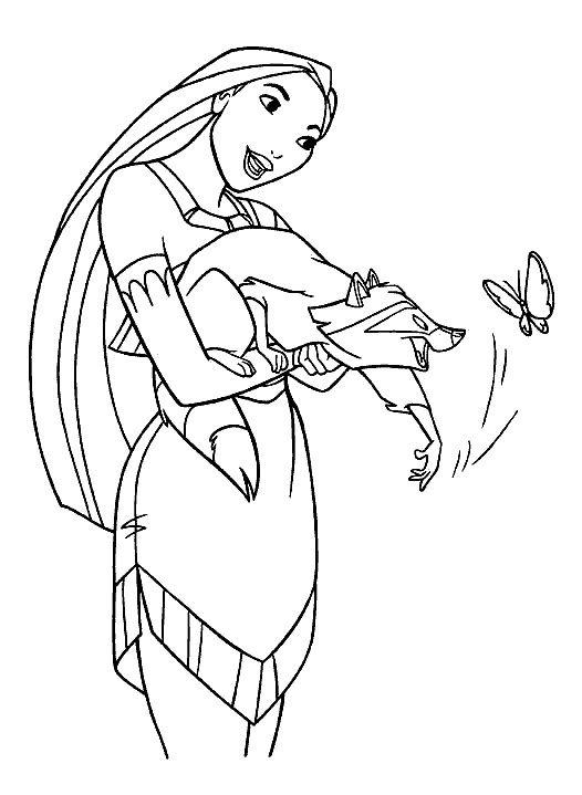 Dibujo De Pocahontas Pocahontas Y Miko Para Colorear Dibujos