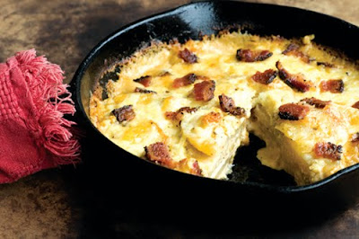Blue cheese scalloped potatoes chipotle bacon