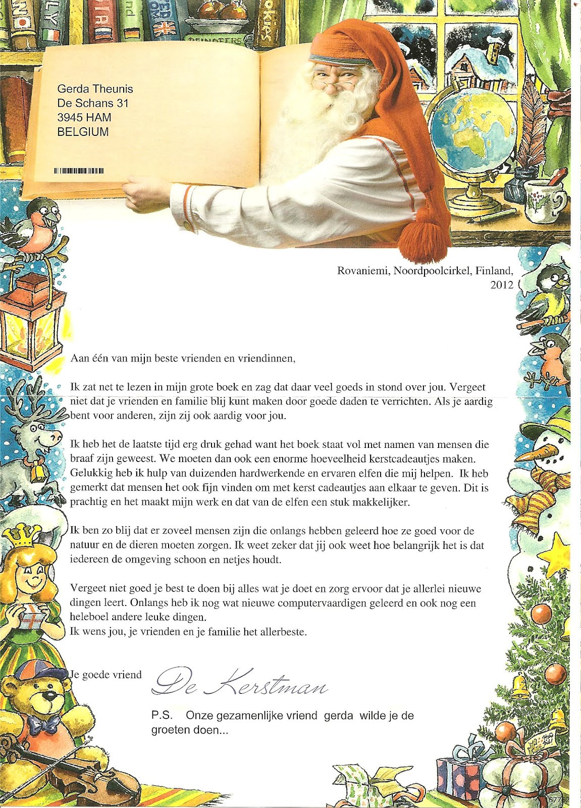 my postcard page finland santa claus letter