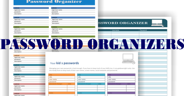 CreativeHatt: Password Organizers: Free Printables