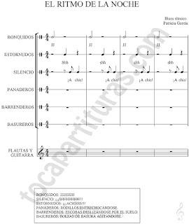 El Ritmo de la Noche Partitura de Flauta/ Guitarra y Percusión con Sonidos (Ronquidos, estornudos, silencio, panaderos, barrenderos y basureros)