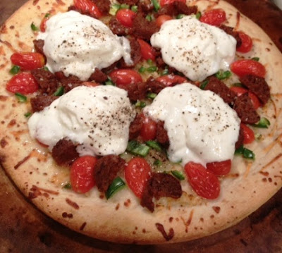 burrata vegetarian sausage pizza