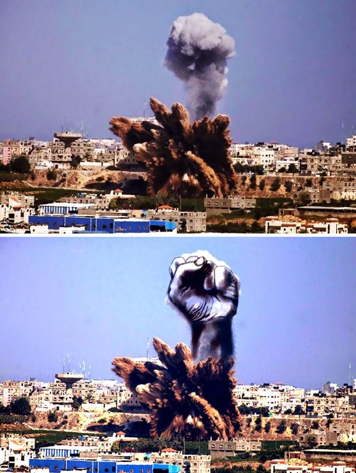 Παλαιστίνιοι καλλιτέχνες μετατρέπουν τον καπνό από τα ισραηλινά χτυπήματα σε δυνατές εικόνες - kollima.gr