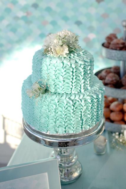 tarta nupcial color verde agua
