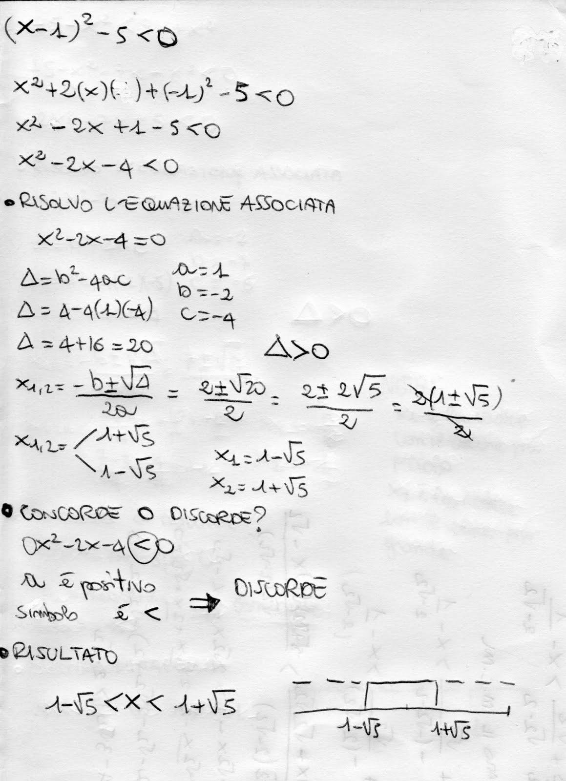 Esercizi svolti di algebra disequazioni di 2 grado o - Tavola di tracciamento secondo grado ...