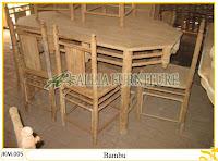 Meja dan Kursi Makan Ukiran Kayu Jati Bambu