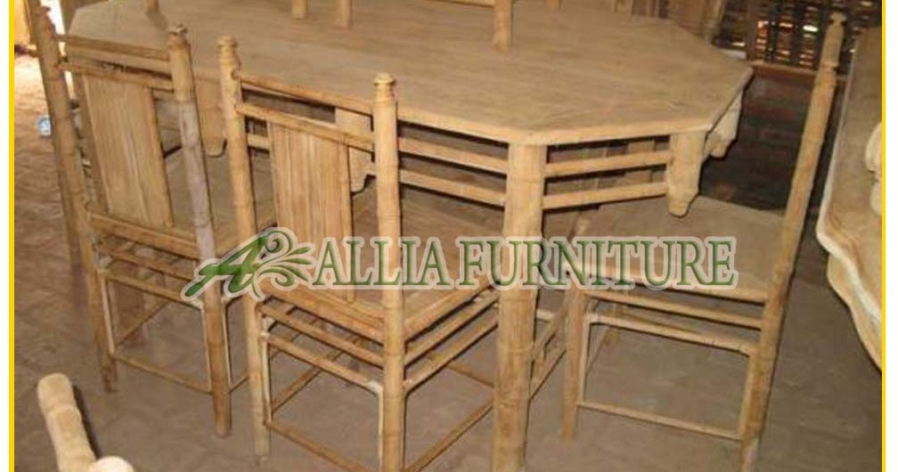 Meja Kursi Makan Ukiran Bambu Allia Furniture