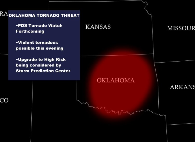later on violent tornadoes are possible this evening for oklahoma