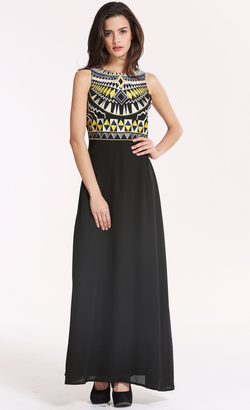 Black Sleeveless Tribal Embroidery Maxi Dress
