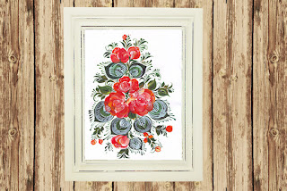 Digital Printable the Flowers  in Russian folk style Volkhovskaya from my Original Painting