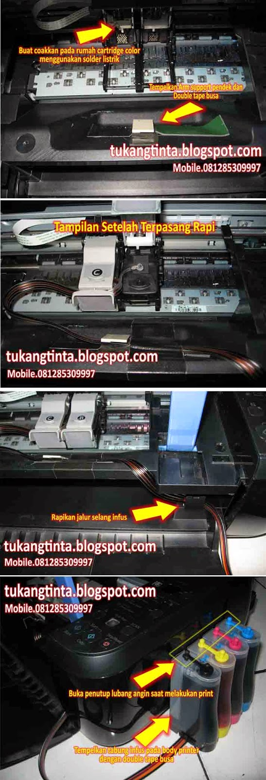Pusat Modifikasi Printer Infus Cara Pasang Instalasi Selang 4 Jalur Http Step 2 Lanjut Pada Body Depan