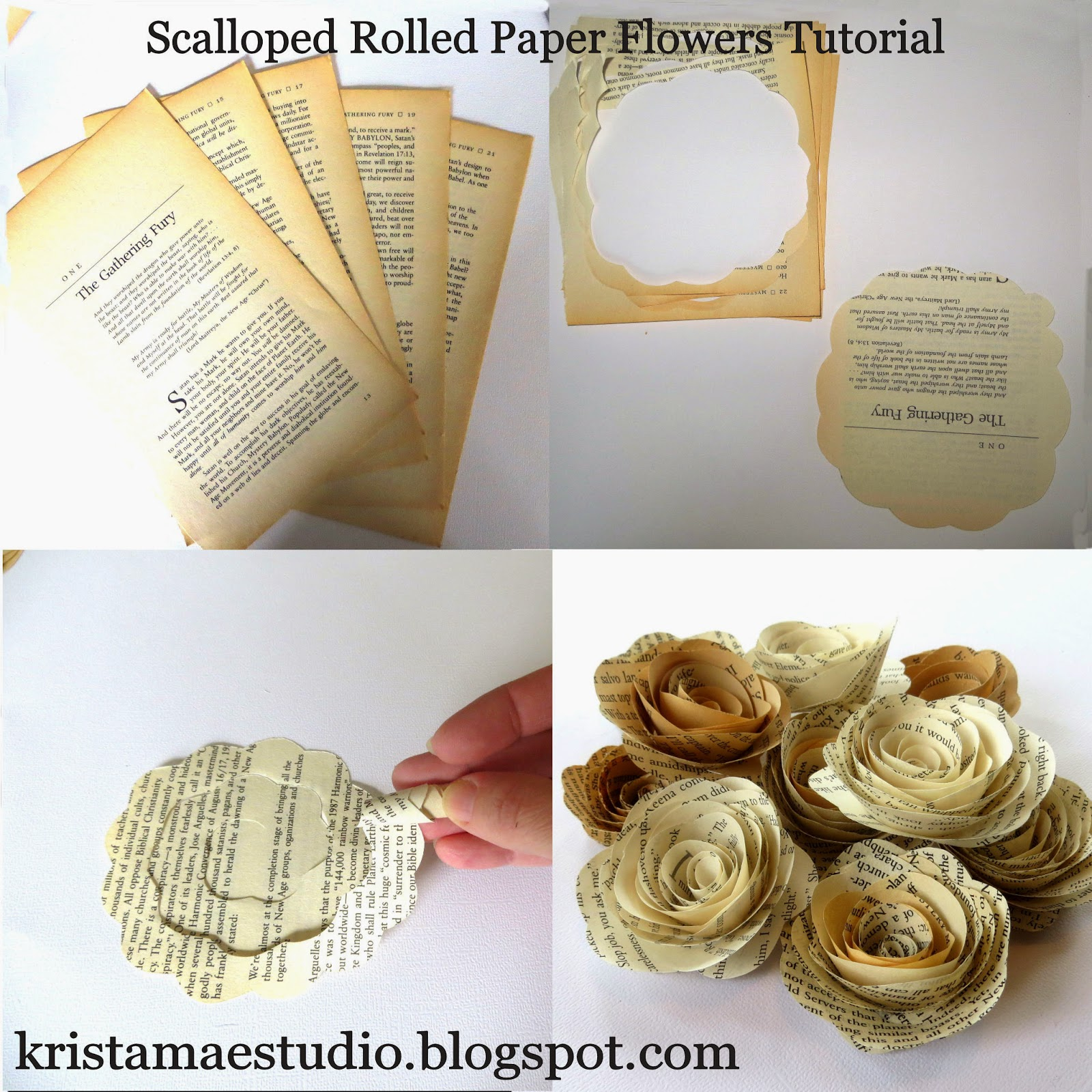 Krista Mae Studio Scalloped Rolled Paper Flower Tutorial