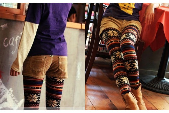 Stylish, Cute, Snow Patterned, Colorful, Sweater Tights with Brown Shorts and Boots