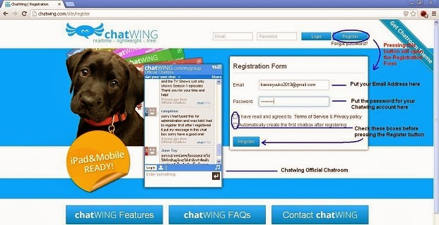 Chatwing Account Register