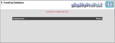 creating database error in phpmyprepaid