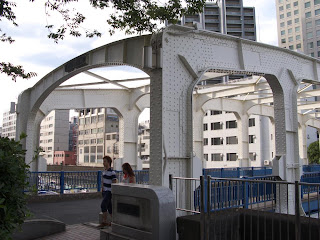 Toyomi Bridge, close up, Chuo ward, Tokyo.