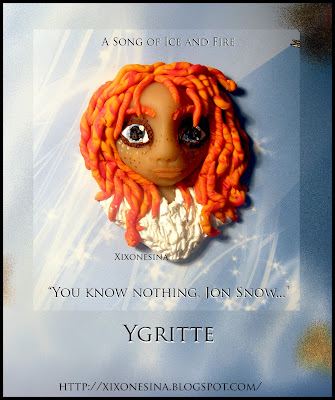 Juego de Tronos, Ygritte, Jon, Nive, Snow, Canción de Hielo y Fuego, Ice, fire, arcilla, polymer clay, broche, brooch, You know nothing, Game of thrones