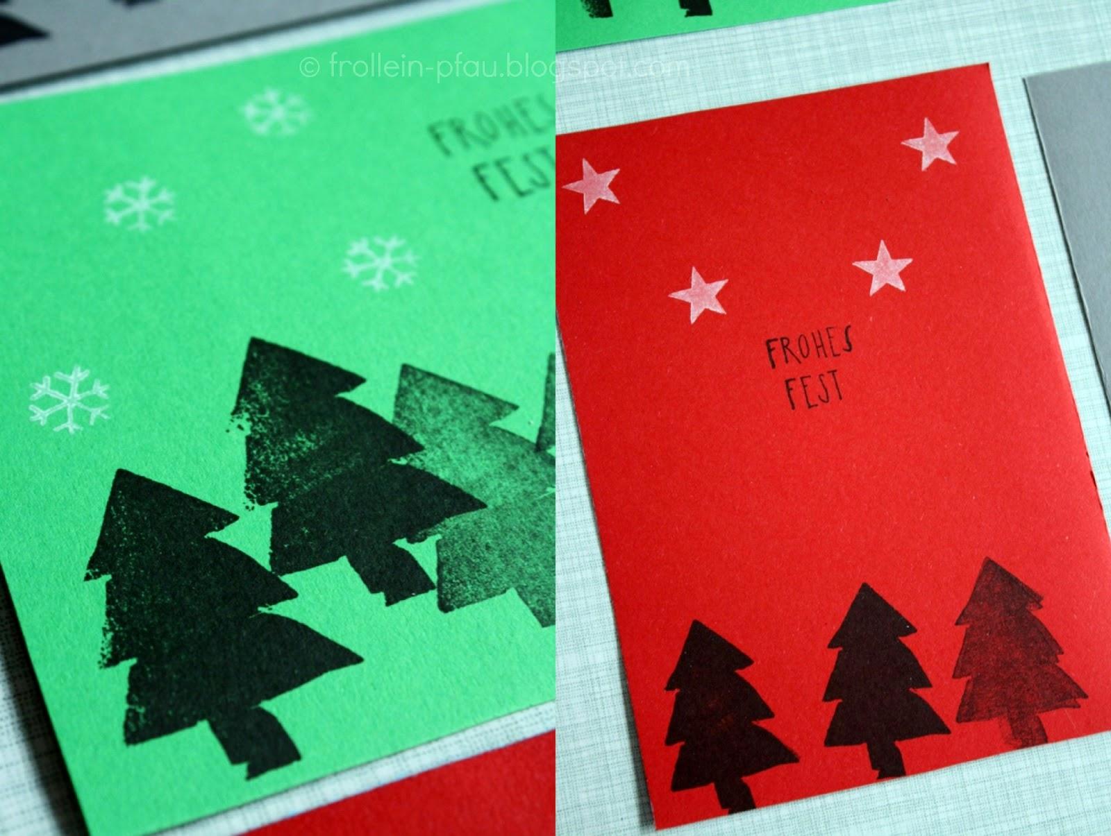 Frollein pfau weihnachtskarten selbstgemacht diy for Weihnachtskarten mit kindern basteln