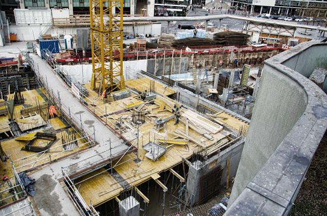 Baustelle Upper West, Hotel, Büro, Einzelhandel, (ursprünglich: Atlas Tower), geplante Höhe: 118 Meter, Breitscheidplatz, 10623 Berlin, 24.02.2014