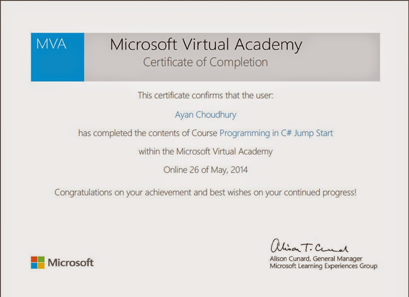 Welcome to my blog ayan choudhury microsoft the way it started certification from mva xflitez Gallery