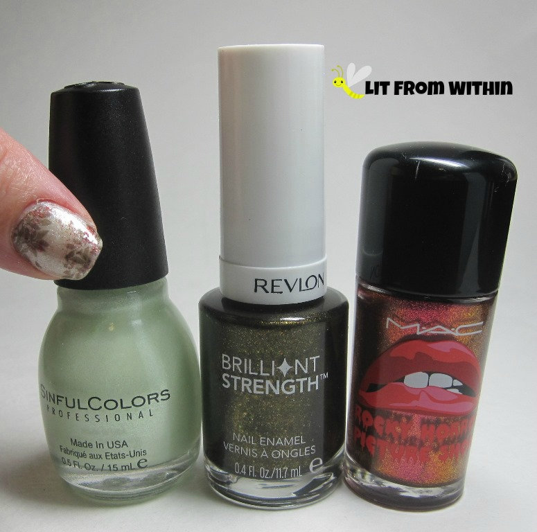 Bottle shot:  Sinful Colors Bring It Sheer, Revlon Enthrall, and MAC Bad Fairy.