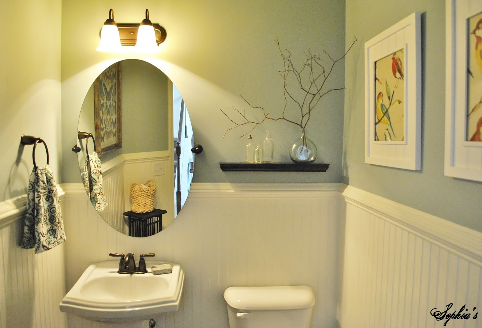 Sophia 39 s powder room makeover for Paint colors for powder rooms