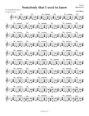 Somebody that I used to know de Gotye Partitura para Flauta, Violín, Oboe, Clarinete, Saxofón Alto,