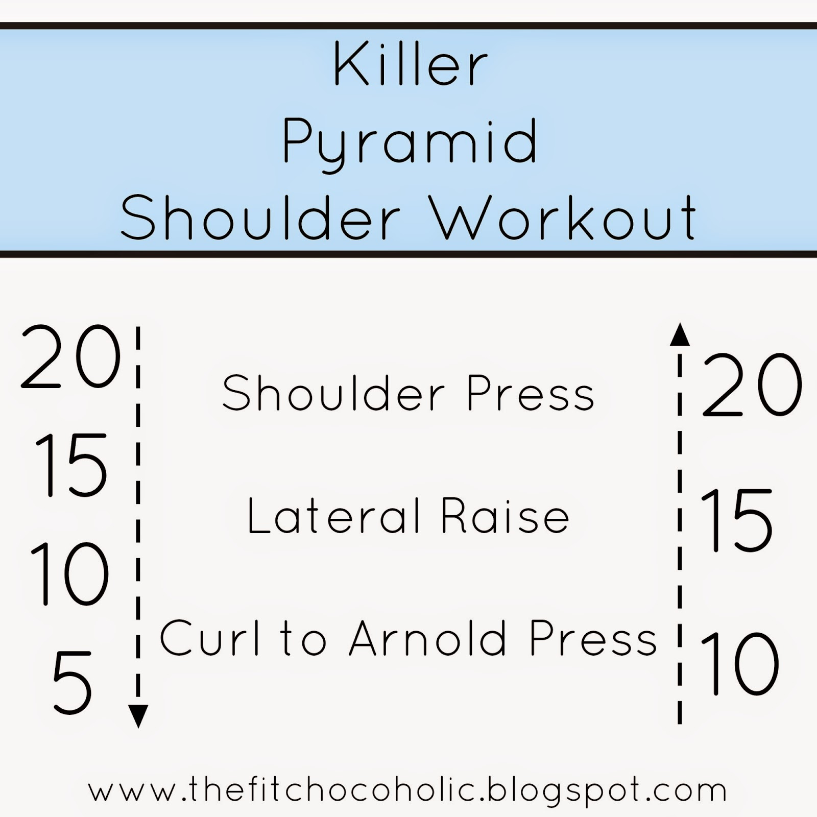 The Fit Chocoholic: Killer Pyramid Shoulder Workout
