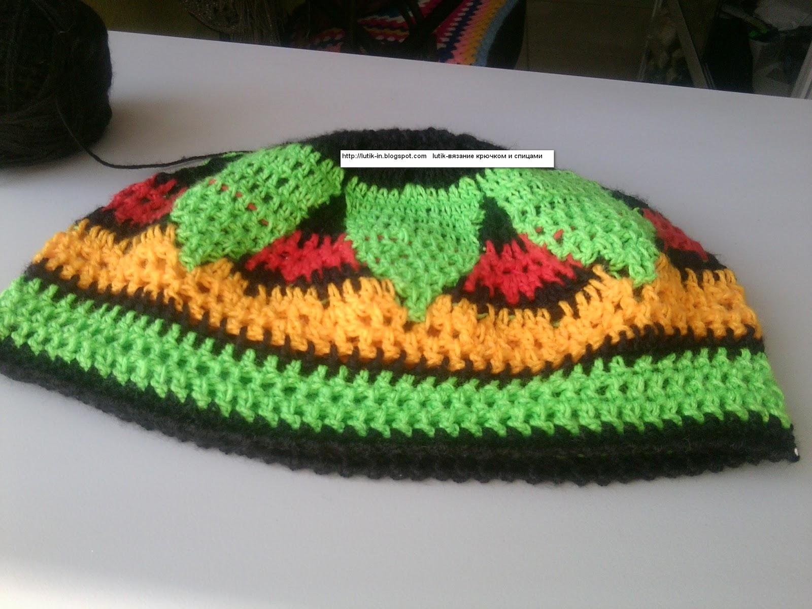 вязання гачком шапки на зиму схема