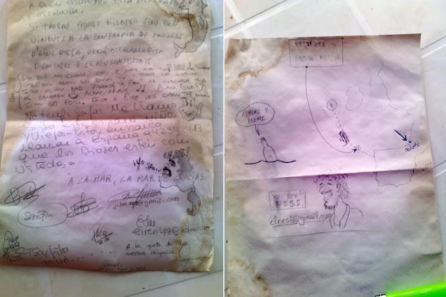 Mensaje escrito por el personal de la campaña Porcupine 2014 y metido en la botella.