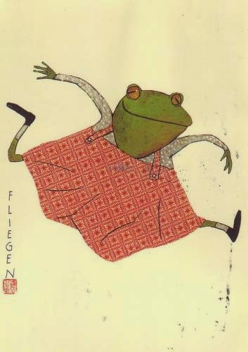 jumping little girl frog by German illustrator Wolf Erlbruch