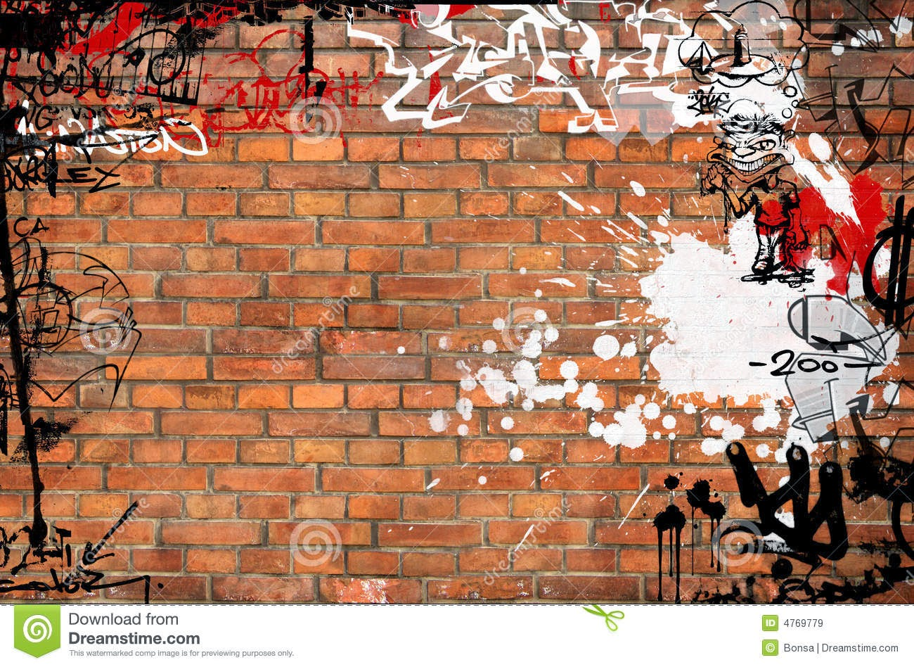 Graffiti wall pictures - Graffiti Brick Wall Drawing