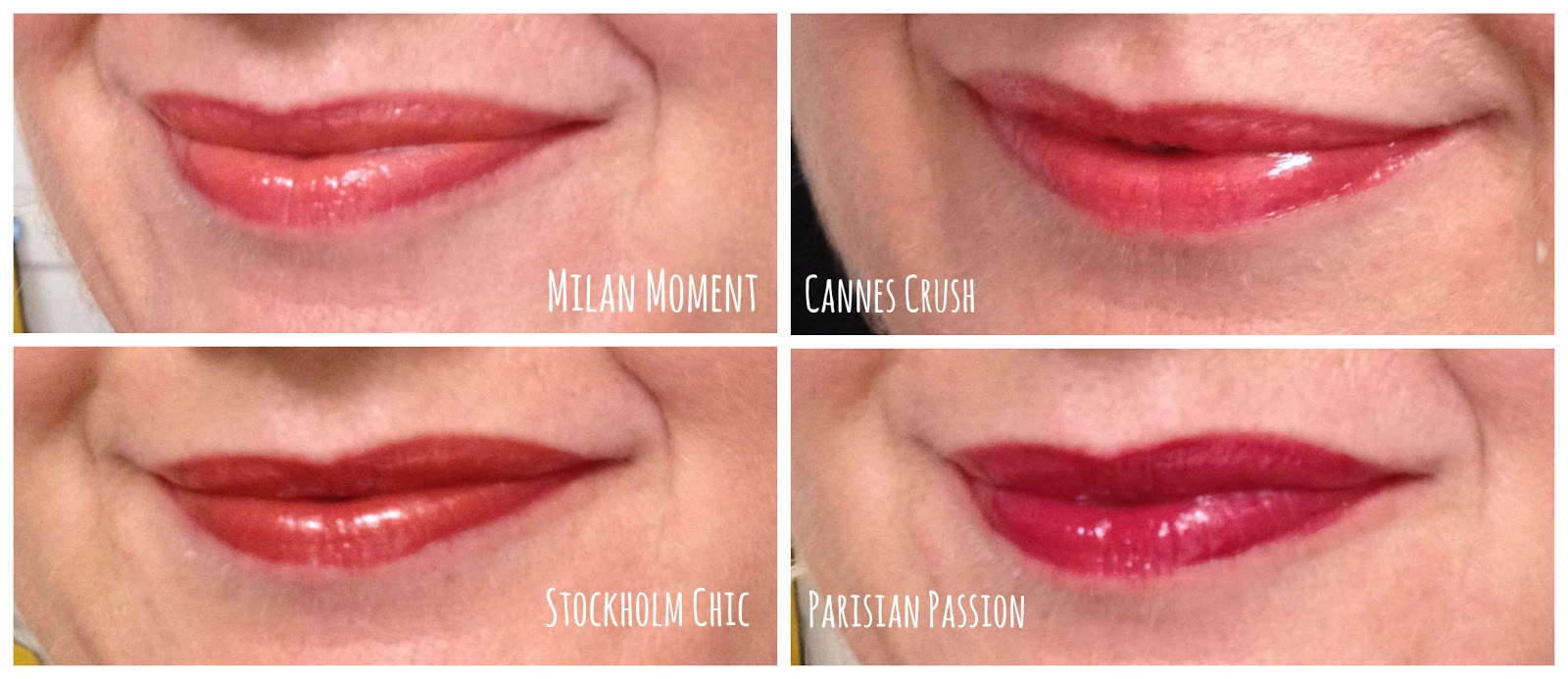 Revlon Colorstay Moisture Stains milan moment, cannes crush, stockholm chic and parisian passion