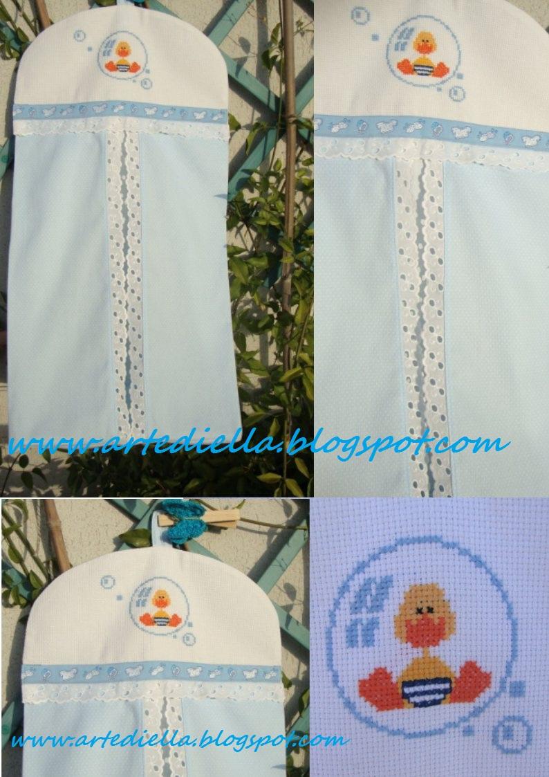 Le fragole di stoffa porta pannolini celeste con schema e - Porta pannolini ...