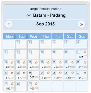 Harga Tiket Pesawat Batam Padang September 2015