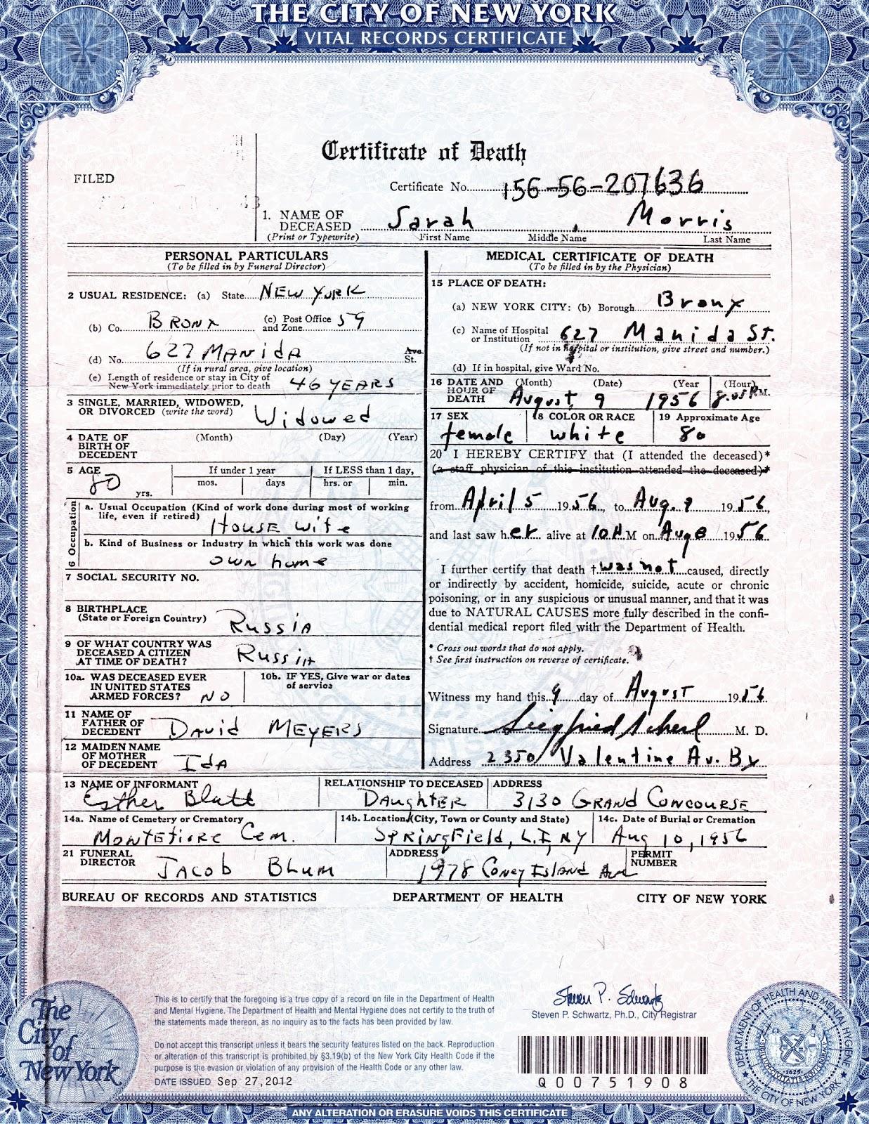 New York City Death Certificate Genealogy