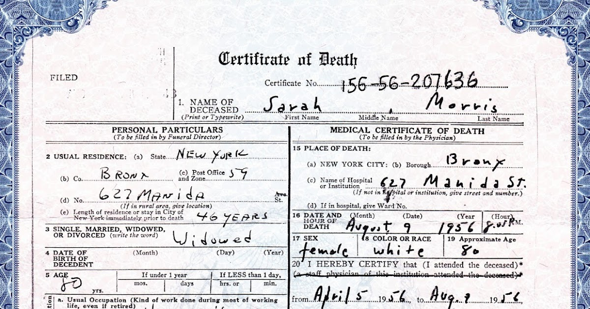 going) the extra yad: treasure chest thursday: death certificate for
