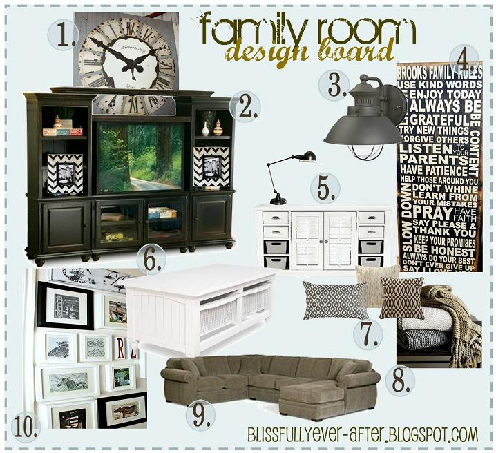 Family Room Design Board - Blissfully Ever After