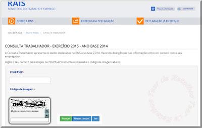 Foto da tela de acesso ao consultar trabalhador da RAIS