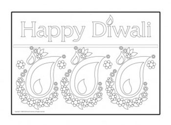 Happy deepavali greetings free colouring pages for Free diwali coloring pages