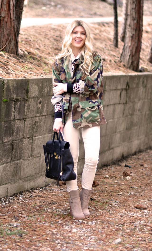 camo jacket, cheetah sweater, white cords, blush boots