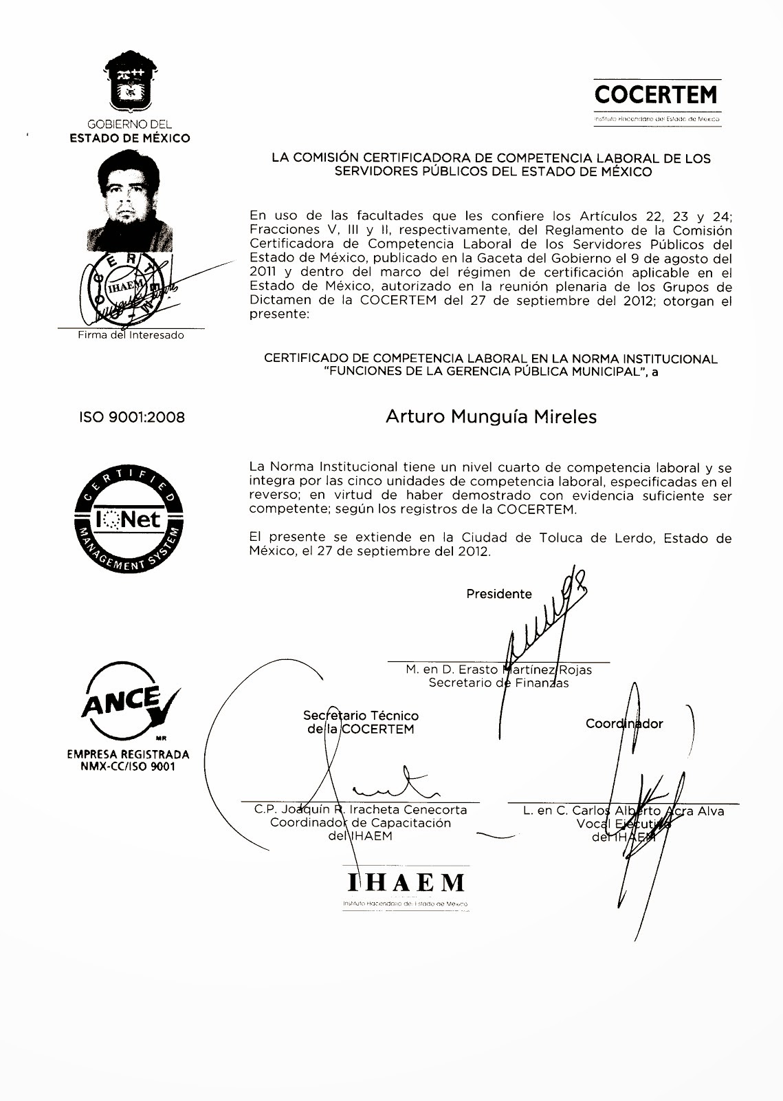 Certificado en Competencia Laboral en Funciones de Gerencia Publica Municipal