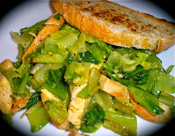The Briny Lemon: Pan-Grilled Chicken Caesar Salads with Garlic Bread