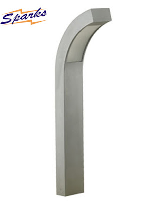 Silver grey vertical LED garden light with a curved head