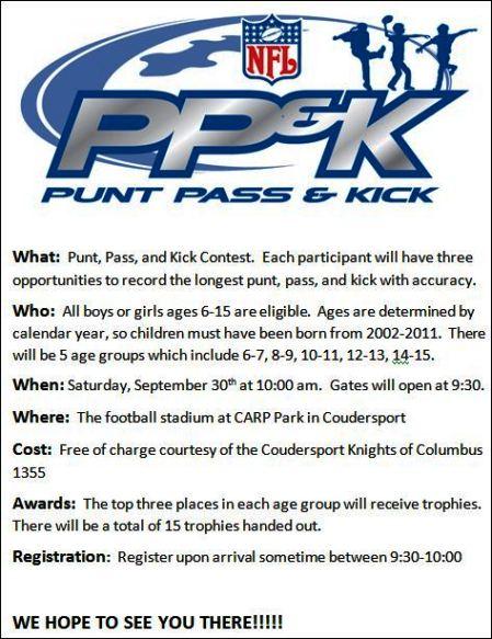 9-30 Punt, Pass & Kick, CARP