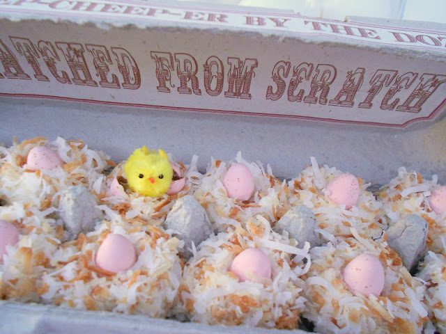 mini muffins in egg carton with peeps