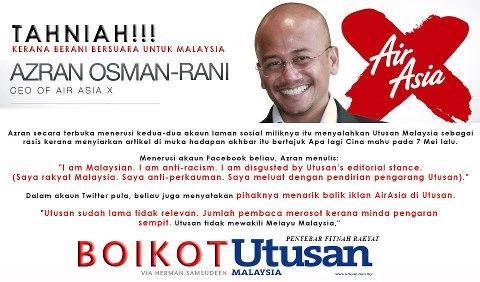 ketua pegawai eksekutif AirAsia X Azran Osman-Rani.